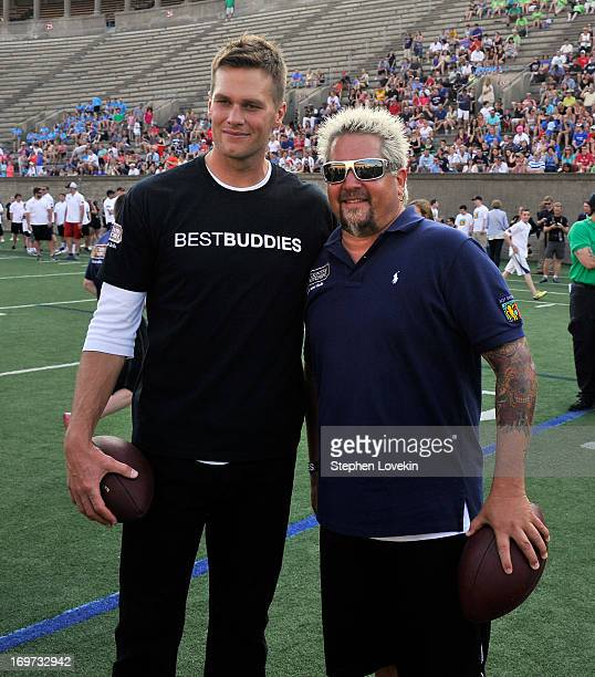 Player Tom Brady and Chef Guy Fieri attend the Tom Brady Football Challenge for the Best Buddies Challenge: Hyannis Port on May 31, 2013 in Boston,...