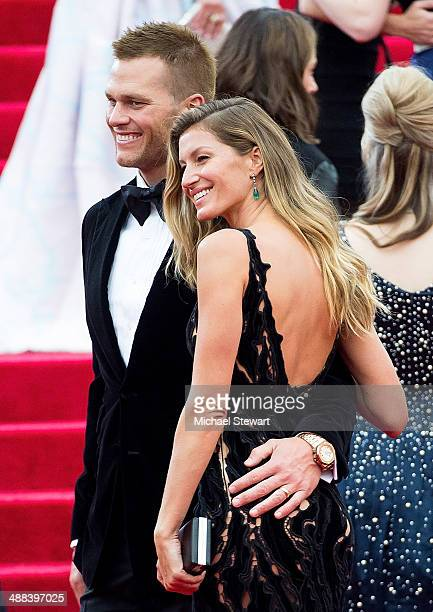 NFL player Tom Brady and Gisele Bundchen attend the 'Charles James Beyond Fashion' Costume Institute Gala at the Metropolitan Museum of Art on May 5...