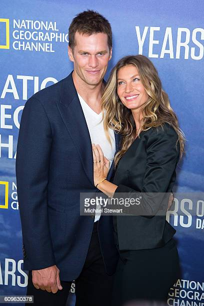 NFL player Tom Brady and model Gisele Bundchen attend National Geographic's 'Years Of Living Dangerously' new season world premiere at American...