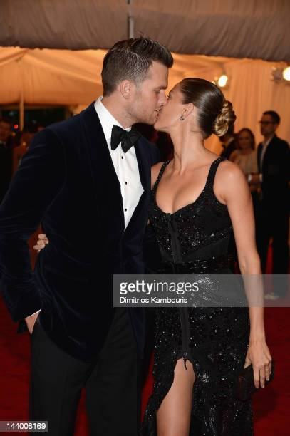 NFL player Tom Brady and model Gisele Bundchen attend the 'Schiaparelli And Prada Impossible Conversations' Costume Institute Gala at the...