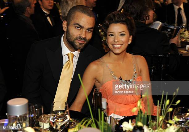 Player Tony Parker and actress Eva Longoria in the audience at the TNT/TBS broadcast of the 15th Annual Screen Actors Guild Awards at the Shrine...