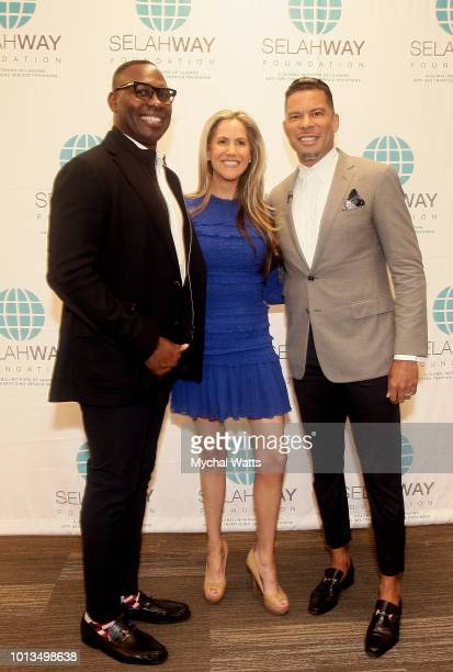 NFL player Tony Richardson Andy Adler of PIX 11 News and Al Reynolds attend the Selah Way Foundation Luncheon at Wells Fargo 42nd St on August 8 2018...