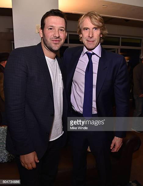 NFL player Tony Romo and director/producer Michael Bay attend the After Party for the Dallas Premiere of Paramount Pictures film 13 Hours The Secret...