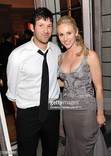 Player Tony Romo of the Dallas Cowboys and Candice Crawford attend the Bloomberg Vanity Fair cocktail reception following the 2011 White House...