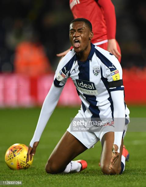 Player Tosin Adarabioyo reacts after being fouled during the Sky Bet Championship EPL match between West Bromwich Albion and Nottingham Forest at The...