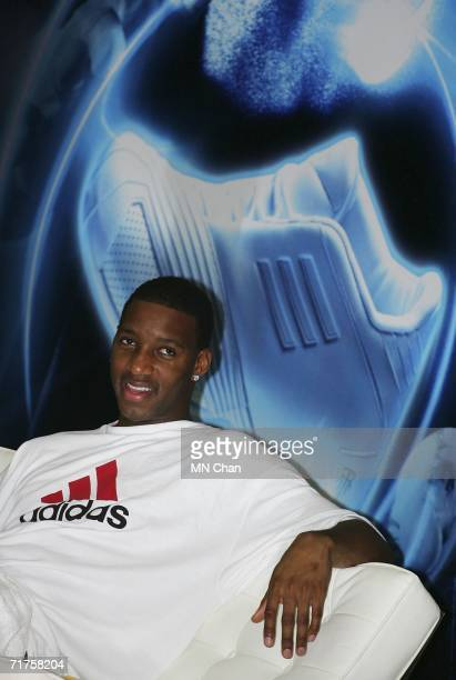 NBA player Tracy McGrady of the Houston Rockets attends a ceremony to launch an Adidas shoe at his second visit to Hong Kong on August 31 2006 in...