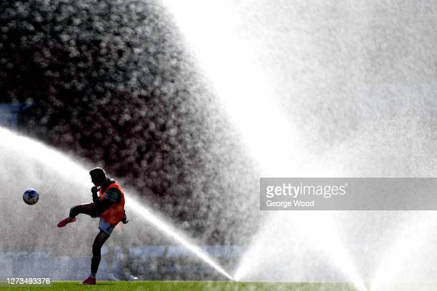 A player trains at half time during the Sky Bet League Two match between Harrogate Town and Walsall at The Keepmoat Stadium on September 19 2020 in...