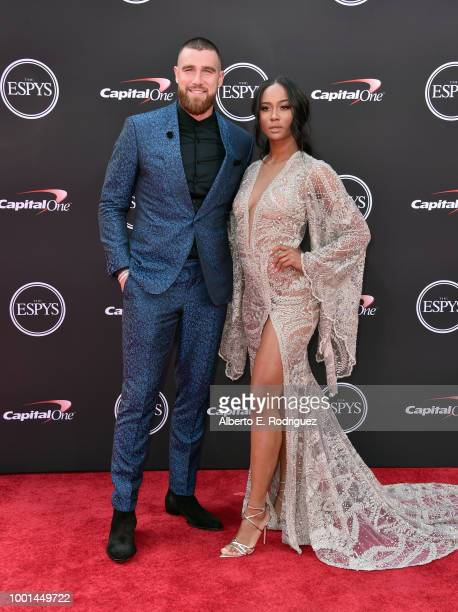 NFL player Travis Kelce and media personality Kayla Nicole attend The 2018 ESPYS at Microsoft Theater on July 18 2018 in Los Angeles California