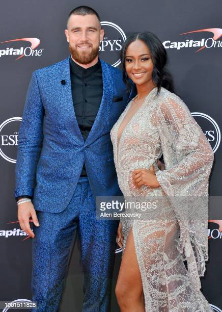 Player Travis Kelce and media personality Kayla Nicole attend The 2018 ESPYS at Microsoft Theater on July 18, 2018 in Los Angeles, California.