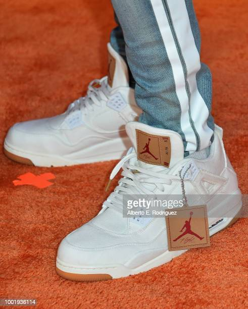 NFL player Travis Kelce fashion detail attends the Nickelodeon Kids' Choice Sports 2018 at Barker Hangar on July 19 2018 in Santa Monica California
