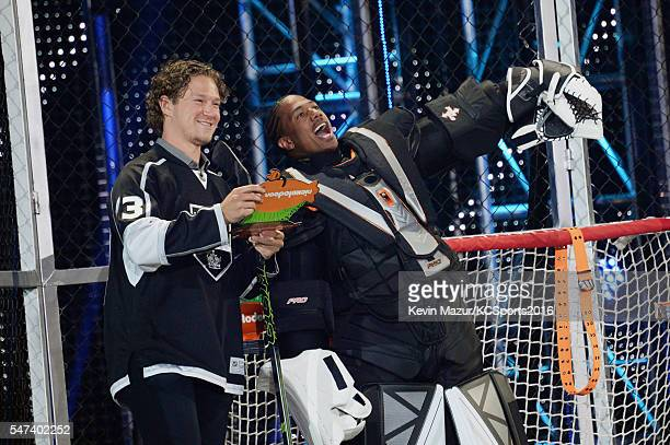 Player Tyler Toffoli and tv personality Nick Cannon speak onstage during the Nickelodeon Kids' Choice Sports Awards 2016 at UCLA's Pauley Pavilion on...