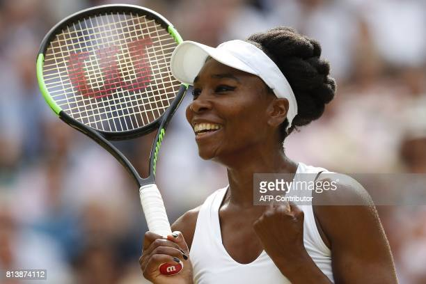 TOPSHOT US player Venus Williams celebrates beating Britain's Johanna Konta during their women's singles semifinal match on the tenth day of the 2017...
