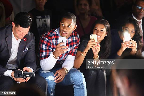 NFL Player Victor Cruz and his fiance Elaina Watley attend the Kids Rock fashion show during Spring 2016 New York Fashion Week The Shows at The Dock...