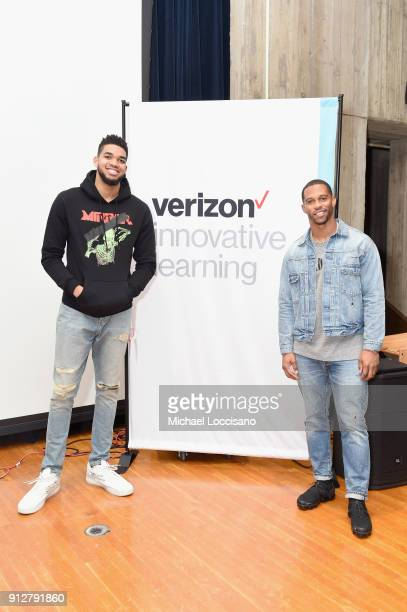 NFL player Victor Cruz and Minnesota Timberwolves NBA player KarlAnthony Towns at the Verizon Innovative Learning Mobile Lab And NFL Player School...