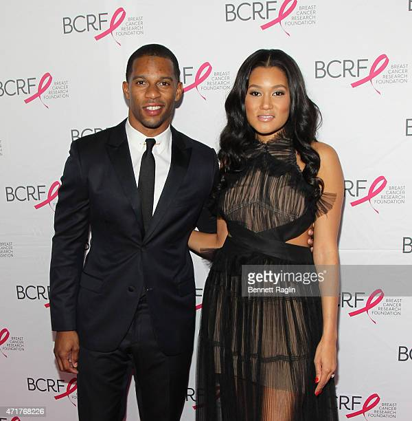 NFL player Victor Cruz and wife Elaina Watley attend The Breast Cancer Research Foundation 2015 Pink Carpet Party at The Waldorf=Astoria on April 30...