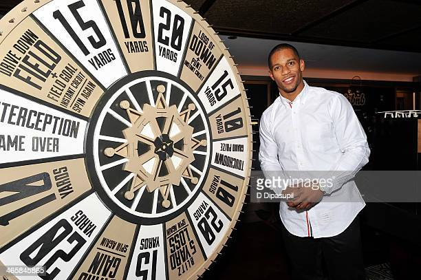 NFL player Victor Cruz attends the Airbnb Super Suite at Roc Nation Sports Airbnb's Welcome To New York event at 40 / 40 Club on January 29 2014 in...