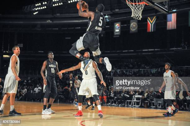 Player Victor Oladipo from the Orlando Magic scores during the NBA Africa Game 2017 basketball match between Team Africa and Team World on August 5,...