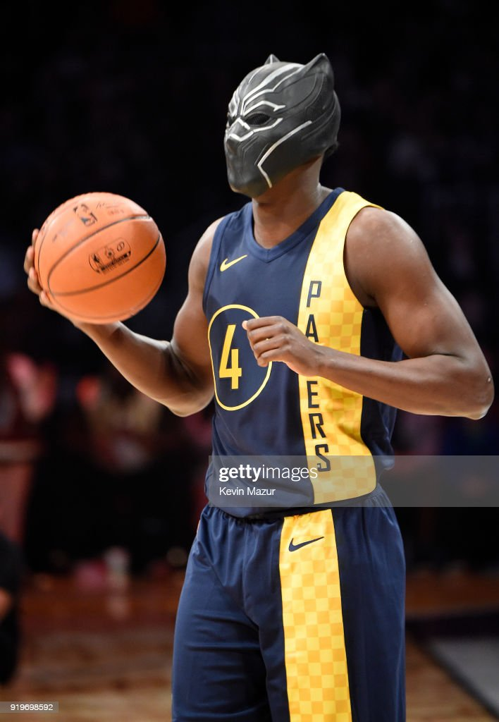 NBA player Victor Oladipo of the Indiana Pacers, wearing Marvel's Black Panther mask from Chadwick Boseman, during the 2018 State Farm All-Star Saturday Night at Staples Center on February 17, 2018 in Los Angeles, California.
