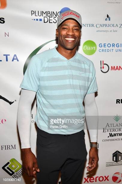 Player Vince Carter attends the Chris Tucker Foundation Celebrity Golf Tournament at Stone Mountain Golf Club on August 25, 2018 in Stone Mountain,...