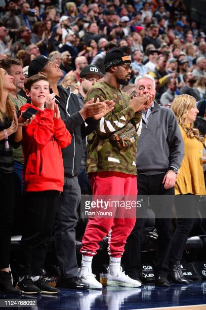 NFL player Von Miller attends the game between the Miami Heat and the Denver Nuggets on February 11 2019 at the Pepsi Center in Denver Colorado NOTE...