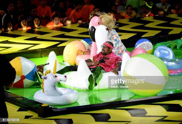 Player Von Miller floats in slime pool onstage during Nickelodeon Kids' Choice Sports Awards 2017 at Pauley Pavilion on July 13, 2017 in Los Angeles,...