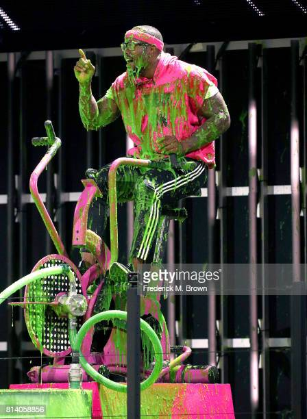 NFL player Von Miller gets slimed onstage during Nickelodeon Kids' Choice Sports Awards 2017 at Pauley Pavilion on July 13 2017 in Los Angeles...