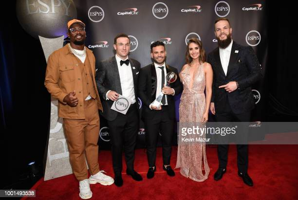 NFL player Von Miller MLB players Alex Bregman and Jose Altuve of the Houston Astros actor Alison Brie and MLB player Dallas Keuchel of the Houston...