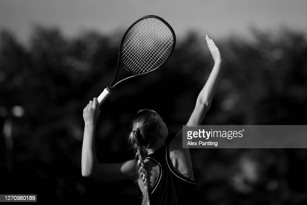 Player warms up during qualifying for the 2020 Fred Perry Championships at Nottingham Tennis Centre on September 05, 2020 in Nottingham, England.