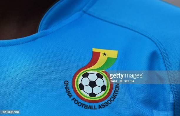 Player wears a football shirt bearing the logo of the Ghana Football Association at the Rei Pele stadium in Maceio, Ghana's base training camp, on...