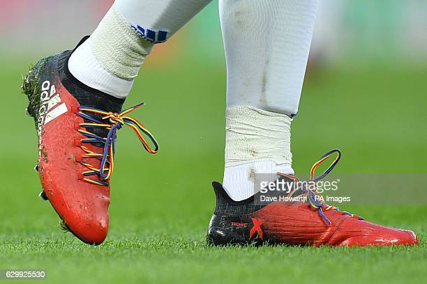 A player wears rainbow laces in support of the Stonewall campaign against homophobia