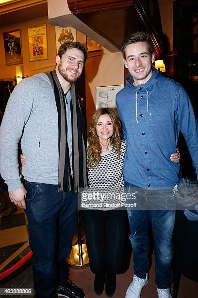 Player William Accambray actress Ingrid Chauvin and player Xavier Barachet attend Handball World Champion 2015 France Handball Team is Guest of Honor...