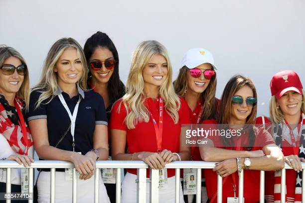 PLayer wives and girlfriends of the US team including Paulina Gretzky Jena Sims and Tori Slater look on during Thursday foursome matches of the...