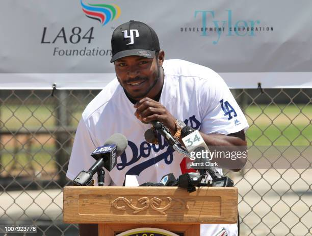 MLB player Yasiel Puig of the Los Angeles Dodgers and Los Angeles Dodgers Foundation host historic Dodgers Dreamfield groundbreaking at Algin Sutton...