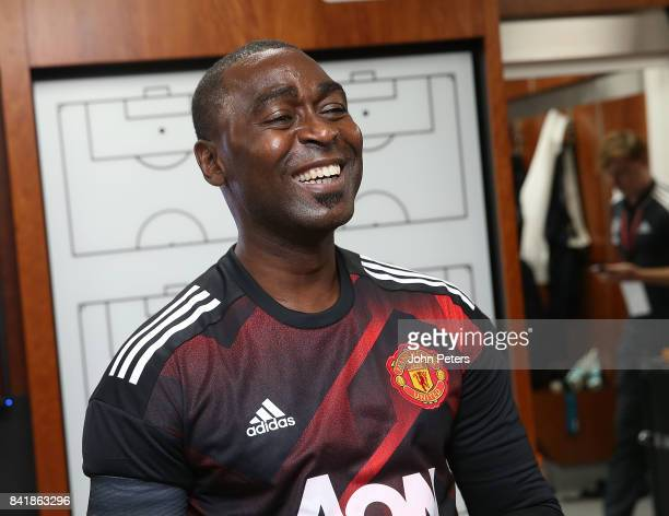 Player/Manager Andrew Cole of Manchester United Legends gives a team talk at halftime during the MU Foundation charity match between Manchester...