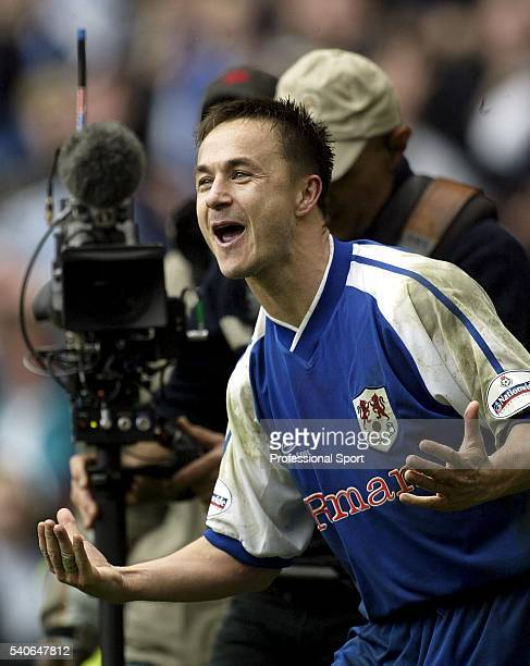 Playermanager Dennis Wise of Millwall celebrates after the FA Cup Semi Final match between Sunderland and Millwall at Old Trafford on April 4 2004 in...