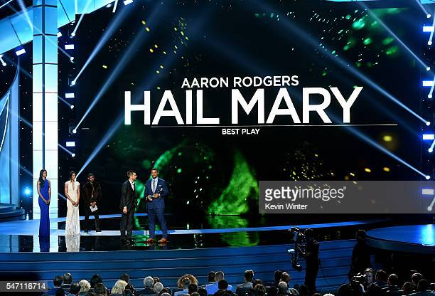 NFL players Aaron Rodgers and Richard Rodgers accept the award for Best Play onstage during the 2016 ESPYS at Microsoft Theater on July 13 2016 in...