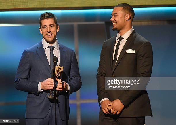 NFL players Aaron Rodgers and Richard Rodgers accept the Bridgestone performance Play of the Year onstage during the 5th Annual NFL Honors at Bill...