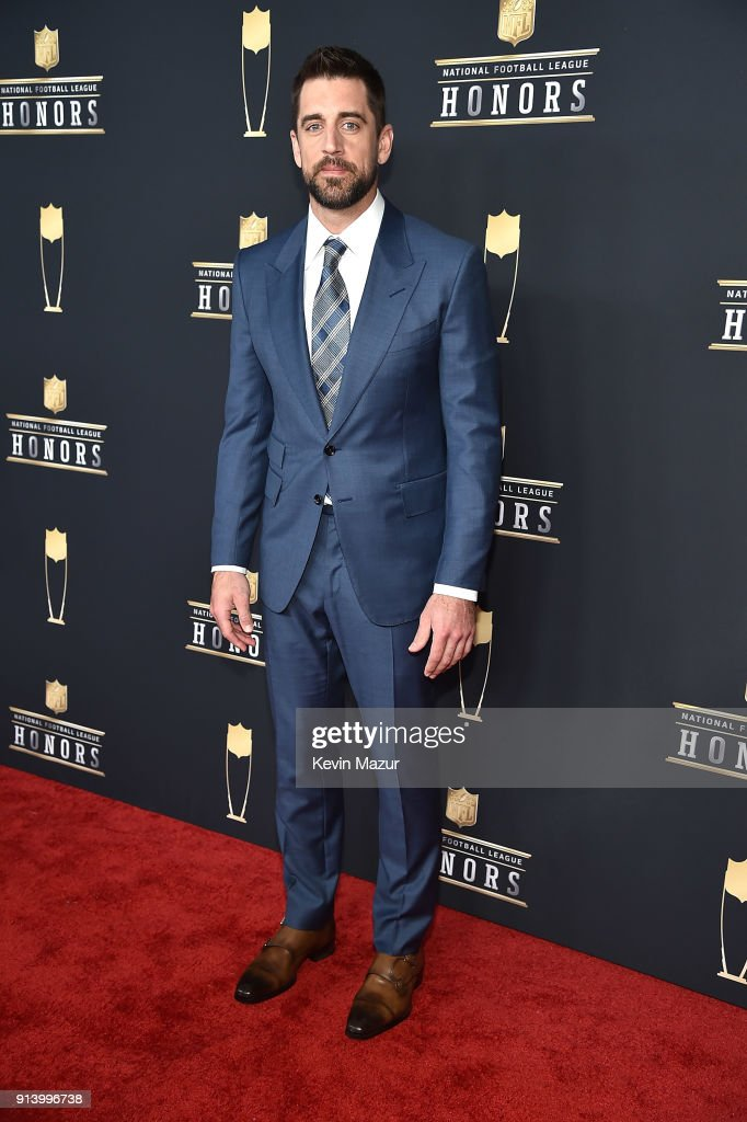 NFL players Aaron Rodgers attends the NFL Honors at University of Minnesota on February 3, 2018 in Minneapolis, Minnesota.