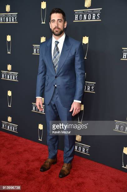 NFL players Aaron Rodgers attends the NFL Honors at University of Minnesota on February 3 2018 in Minneapolis Minnesota