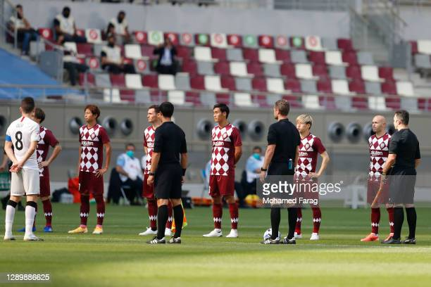 Players ahead of the AFC Champions League Round of 16 match between Vissel Kobe and Shanghai SIPG at the Khalifa International Stadium on December 7,...