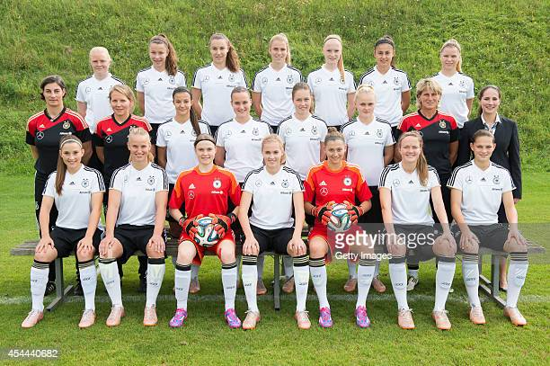 Players and advisers of Germany U17 pose for a team photo First line left to right Isabella Moeller Franziska Gieseke Nadine Winckler Laura Freigang...