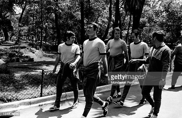 Players and coaches choosen for the National football team of Italy on the occasion of the Football World Cup or World Cup Jules Rimet walking at the...