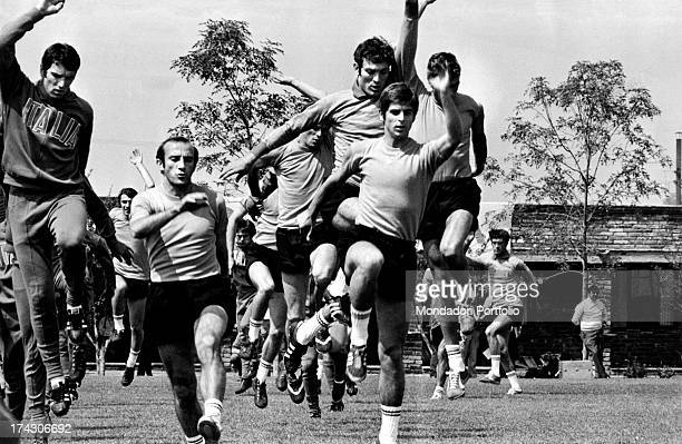 Players and coaches choosen for the National football team of Italy on the occasion of the Football World Cup or World Cup Jules Rimet watching a...