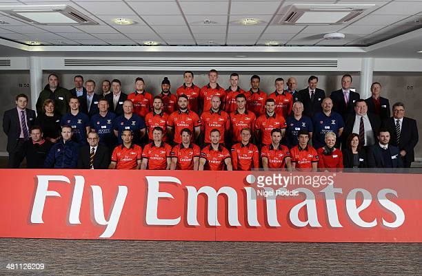 Players and coaches of Durham pose for a portrait with sponsors during the Durham CCC Photocall at The Riverside on March 24 2014 in ChesterLeStreet...
