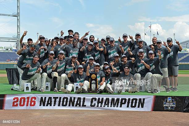 Players and coaches of the Coastal Carolina Chanticleers pose for a team photo after defeating the Arizona Wildcats 43 for the National Championship...