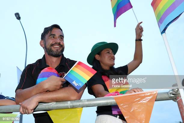 Players and coaches on the NZR Community Rugby float on February 17 2018 in Auckland New Zealand The Auckland Pride Parade is part of the annual...