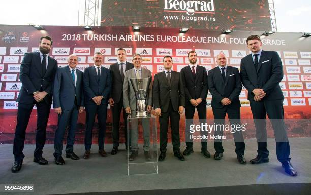 Players and coaches participants and Jordi Bertomeu President and CEO of Euroleague Basketball poses during the 2018 Turkish Airlines EuroLeague F4...