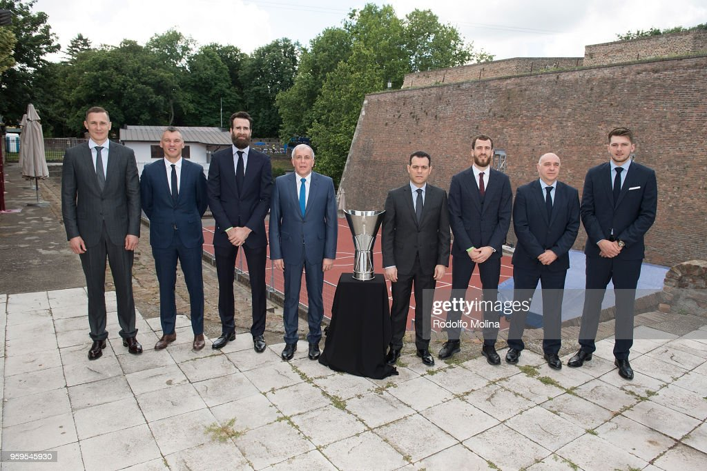 Players and coaches participnts during the 2018 Turkish Airlines EuroLeague F4 Photo Opportunity at Kalemegdan Fortress and Park on May 17, 2018 in Belgrade, Serbia.