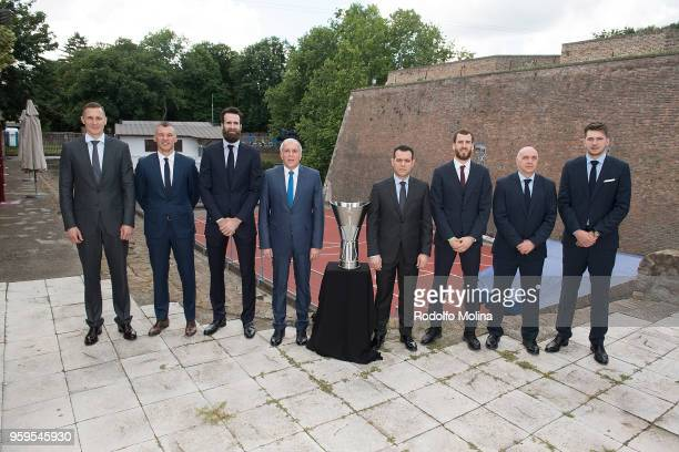 Players and coaches participnts during the 2018 Turkish Airlines EuroLeague F4 Photo Opportunity at Kalemegdan Fortress and Park on May 17 2018 in...