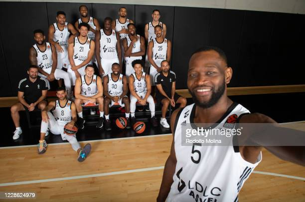 Players and coaches poses for a team picture during the 2020/2021 Turkish Airlines EuroLeague Media Day of LDLC ASVEL Villeurbanne at L'Alqueria del...